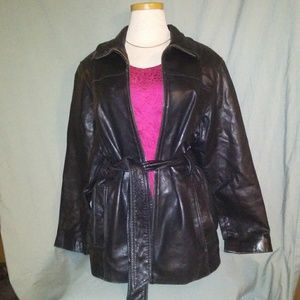 Charles Klein.  Black Leather Jacket. Size Small.